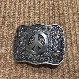 Vintage peace sign belt buckle